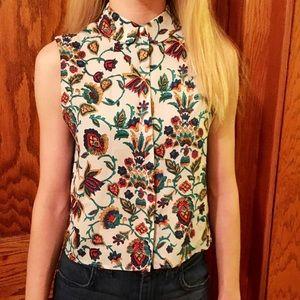 Floral Print Button-Up Sleeveless Crop Top